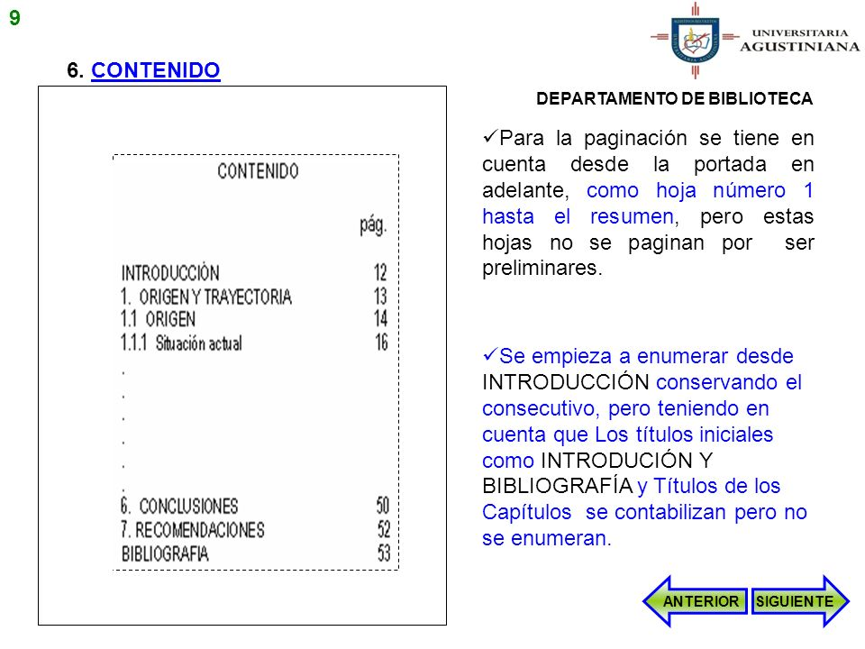 9 6. CONTENIDO. DEPARTAMENTO DE BIBLIOTECA.