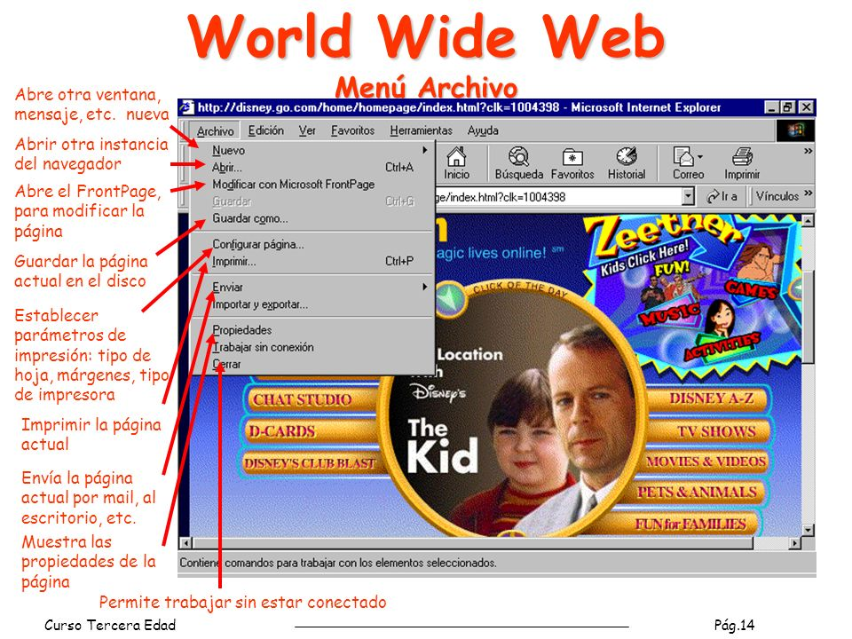 World Wide Web Menú Archivo
