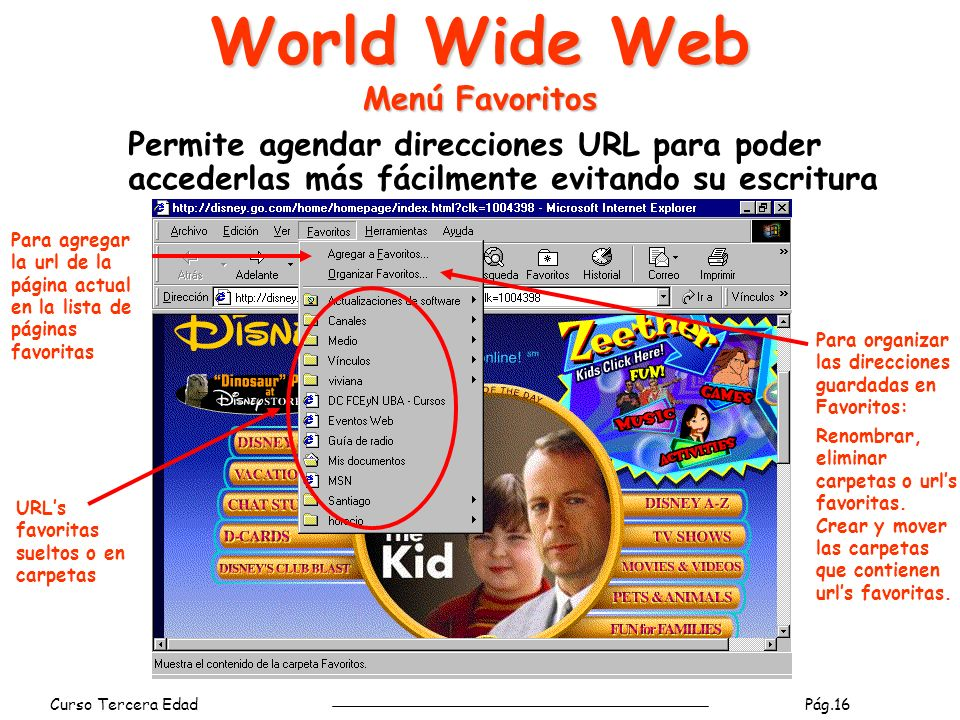 World Wide Web Menú Favoritos