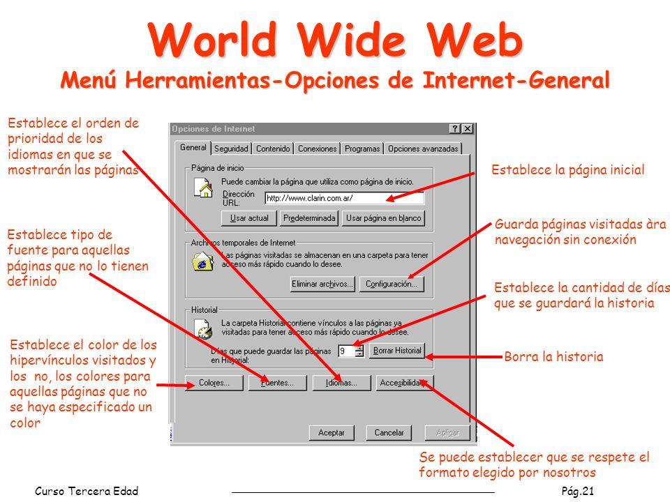 World Wide Web Menú Herramientas-Opciones de Internet-General