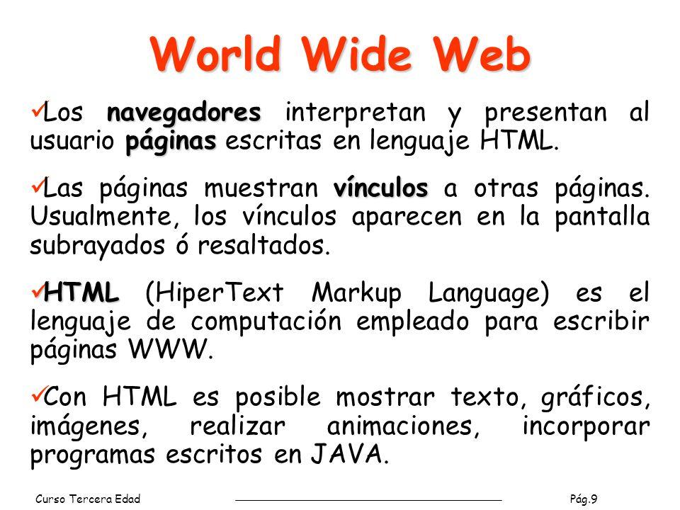 World Wide Web Los navegadores interpretan y presentan al usuario páginas escritas en lenguaje HTML.