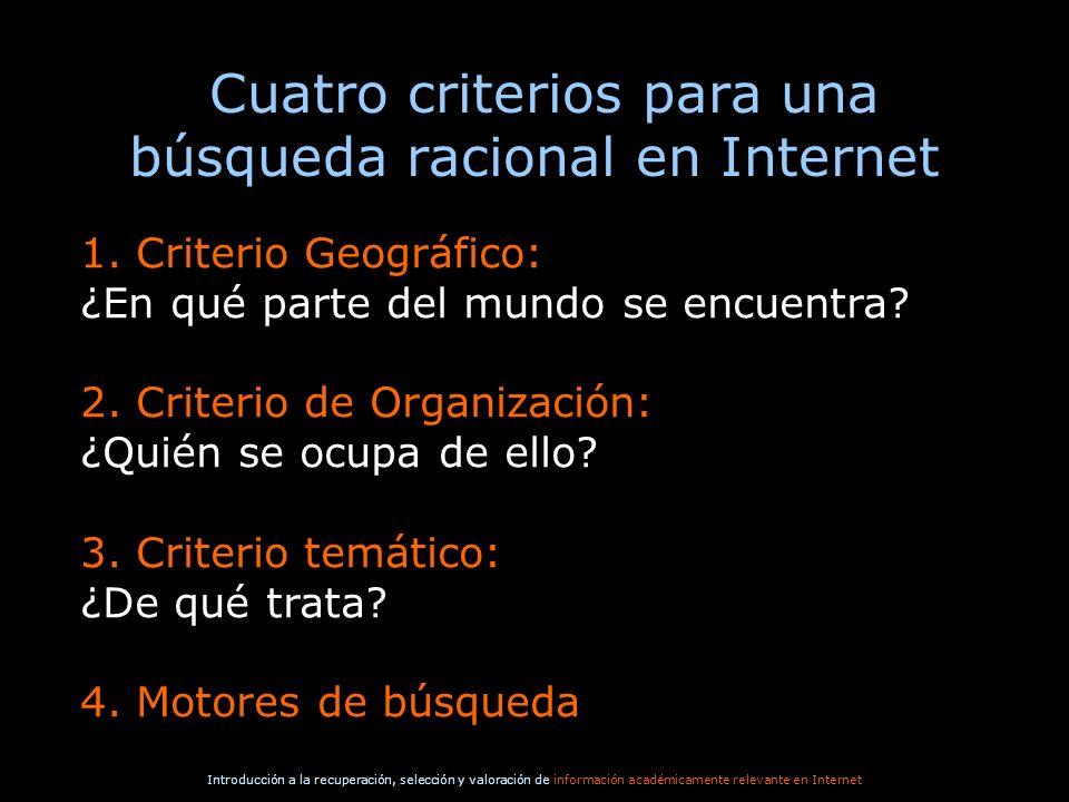 Cuatro criterios para una búsqueda racional en Internet