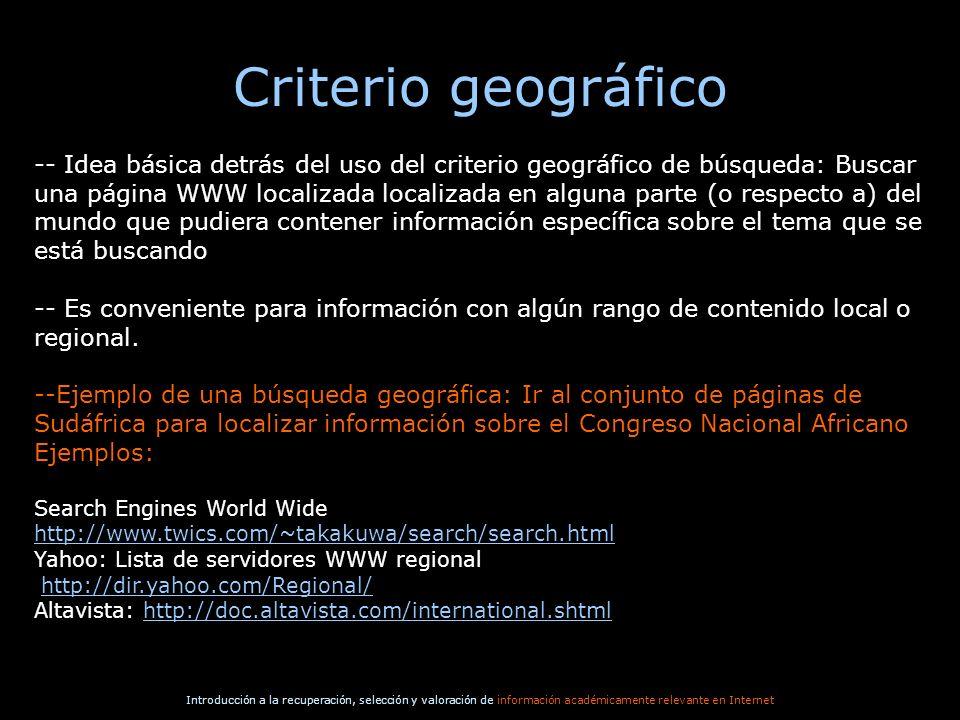 Criterio geográfico