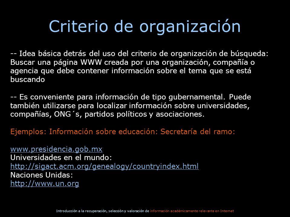 Criterio de organización