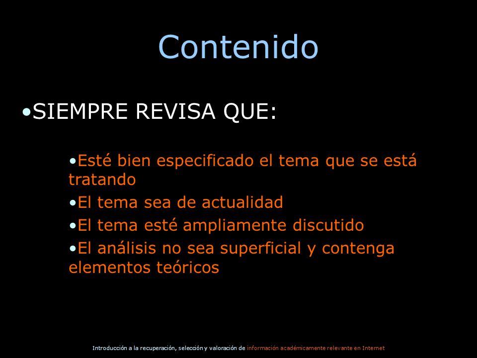 Contenido SIEMPRE REVISA QUE: