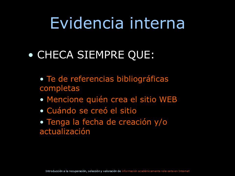 Evidencia interna CHECA SIEMPRE QUE: