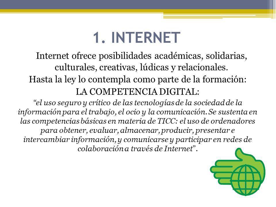 1. INTERNET Internet ofrece posibilidades académicas, solidarias, culturales, creativas, lúdicas y relacionales.
