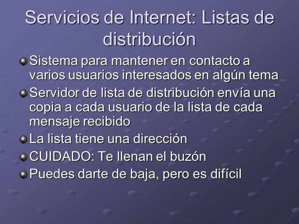 Servicios de Internet: Listas de distribución
