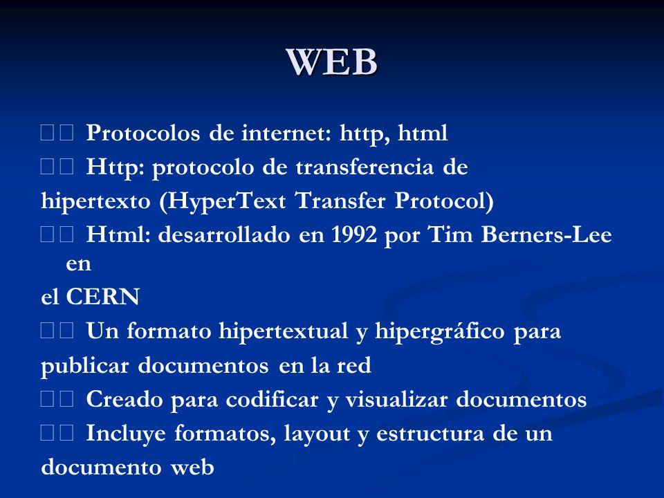 WEB  Protocolos de internet: http, html