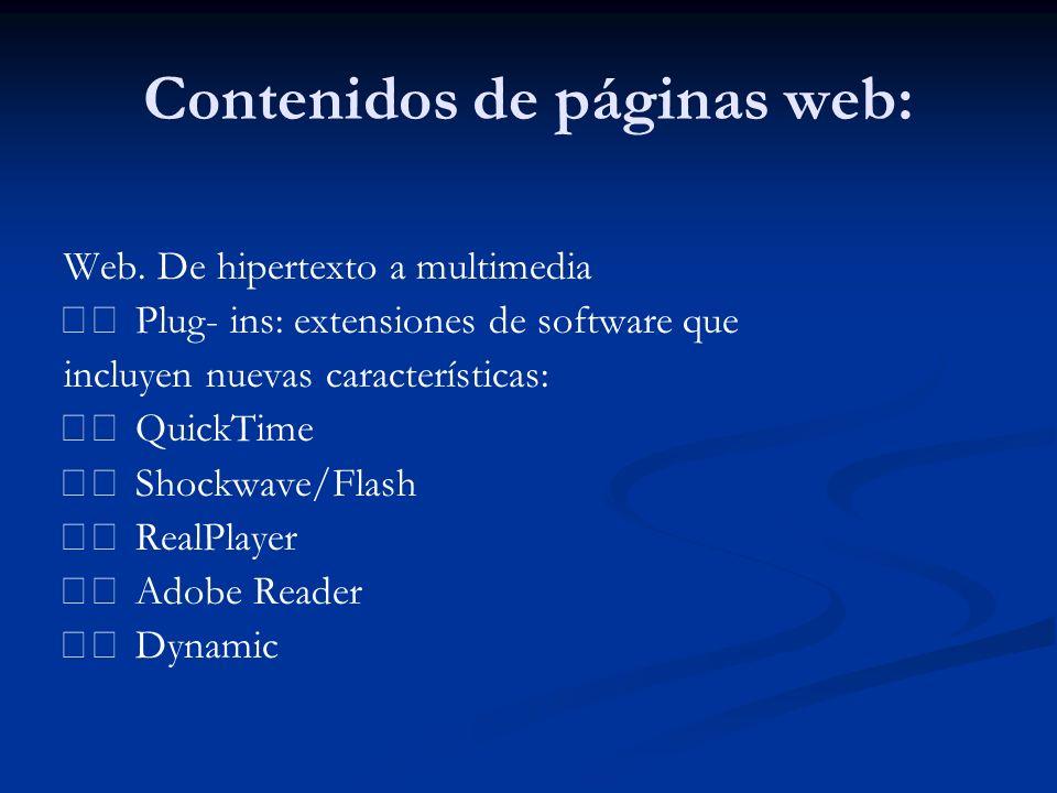 Contenidos de páginas web: