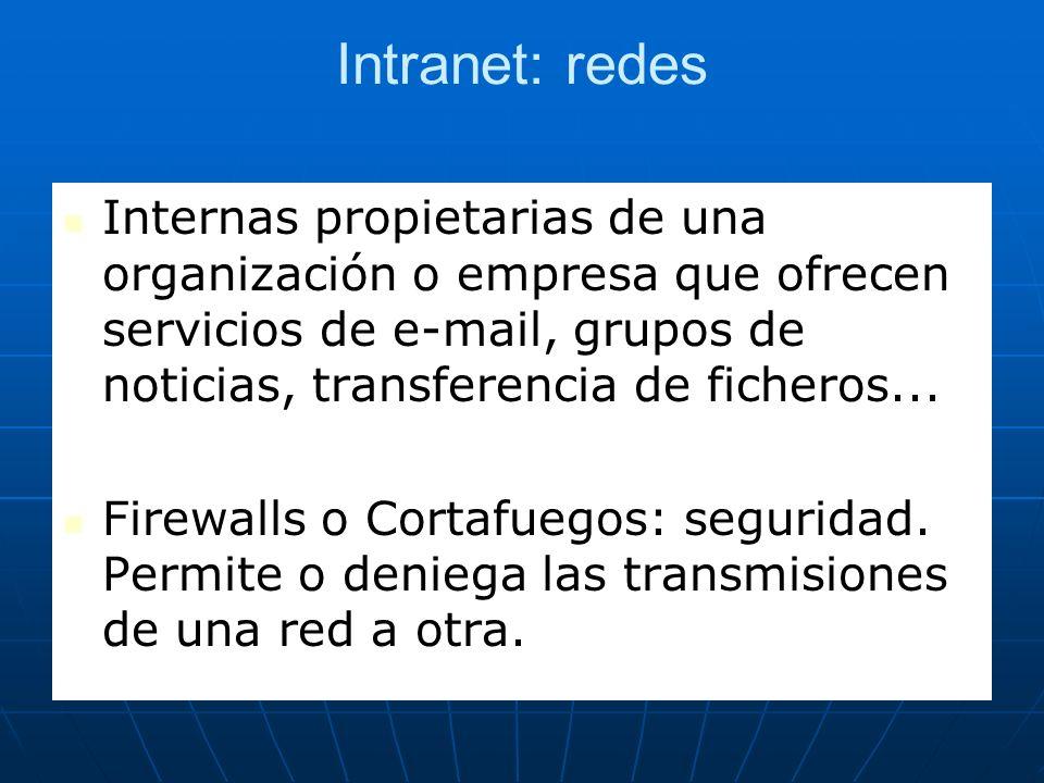 Intranet: redes Internas propietarias de una organización o empresa que ofrecen servicios de e-mail, grupos de noticias, transferencia de ficheros...