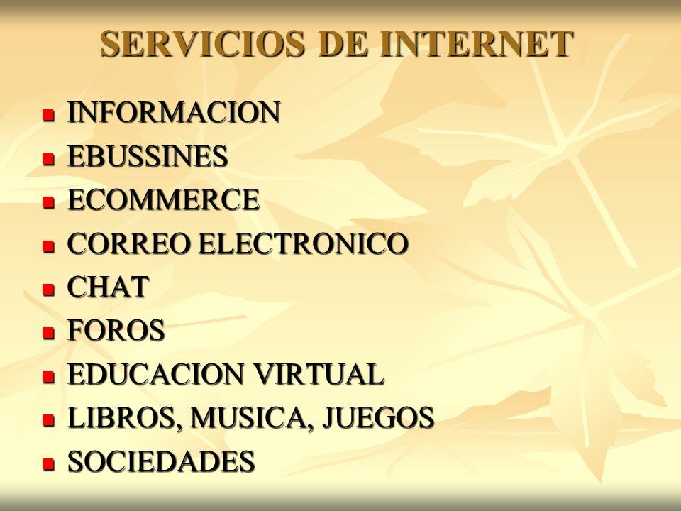 SERVICIOS DE INTERNET INFORMACION EBUSSINES ECOMMERCE