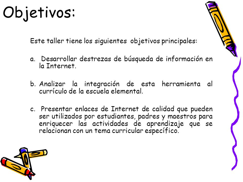 Objetivos: Este taller tiene los siguientes objetivos principales: