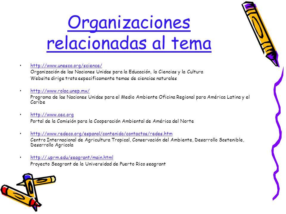 Organizaciones relacionadas al tema
