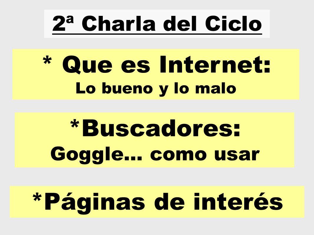 * Que es Internet: *Buscadores: *Páginas de interés