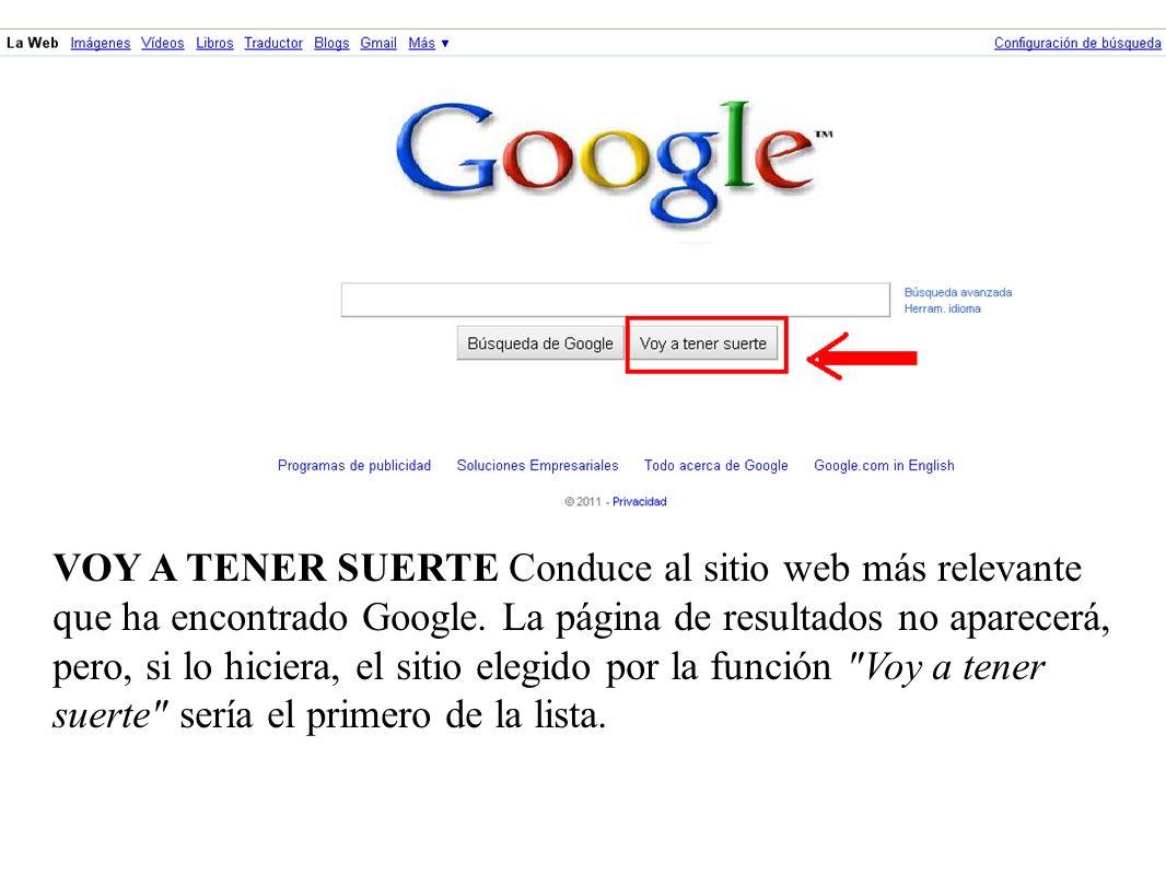 VOY A TENER SUERTE Conduce al sitio web más relevante que ha encontrado Google.
