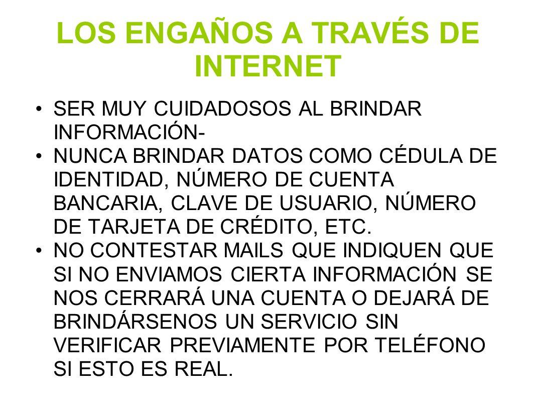 LOS ENGAÑOS A TRAVÉS DE INTERNET