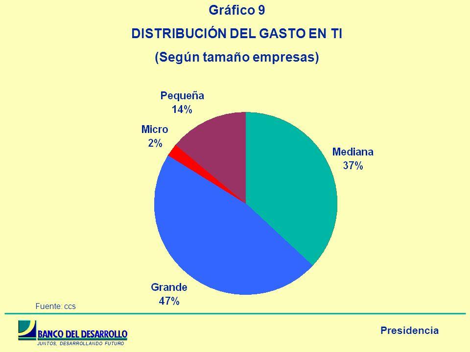 DISTRIBUCIÓN DEL GASTO EN TI (Según tamaño empresas)