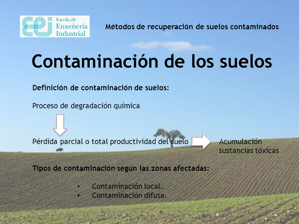 M todos de recuperaci n de suelos contaminados ppt video for Sustancias del suelo