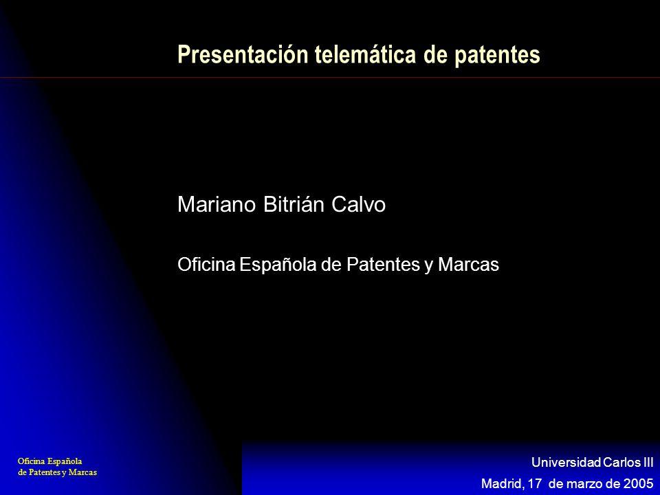 Presentación telemática de patentes