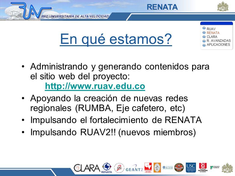 RENATA RUAV RENATA CLARA R. AVANZADAS APLICACIONES. En qué estamos