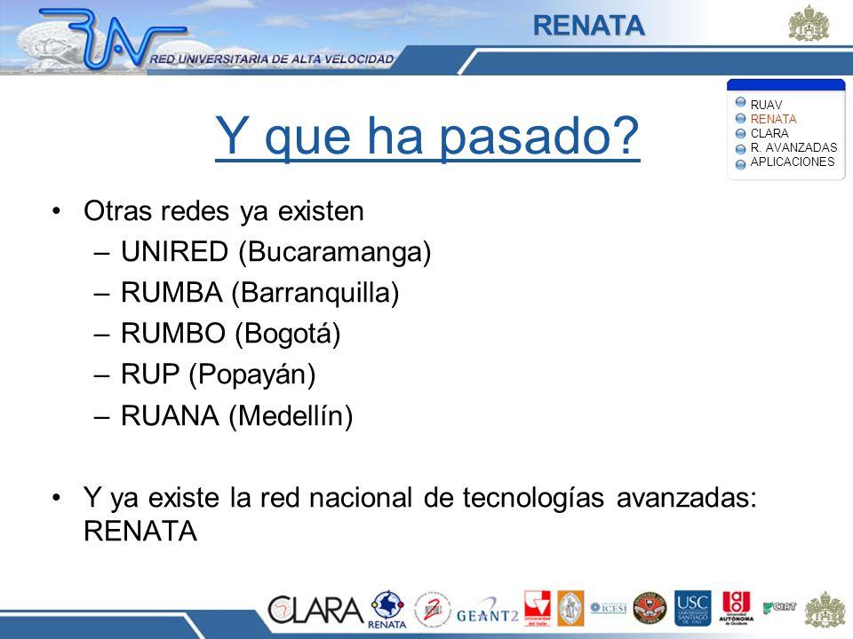 Y que ha pasado RENATA Otras redes ya existen UNIRED (Bucaramanga)