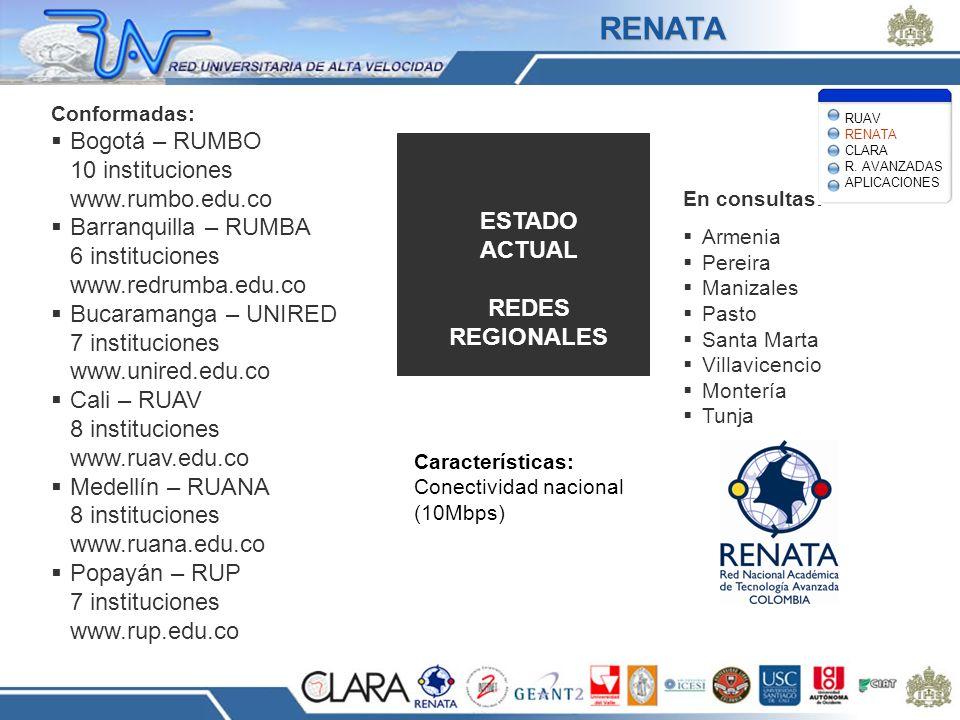 RENATA Bogotá – RUMBO 10 instituciones www.rumbo.edu.co