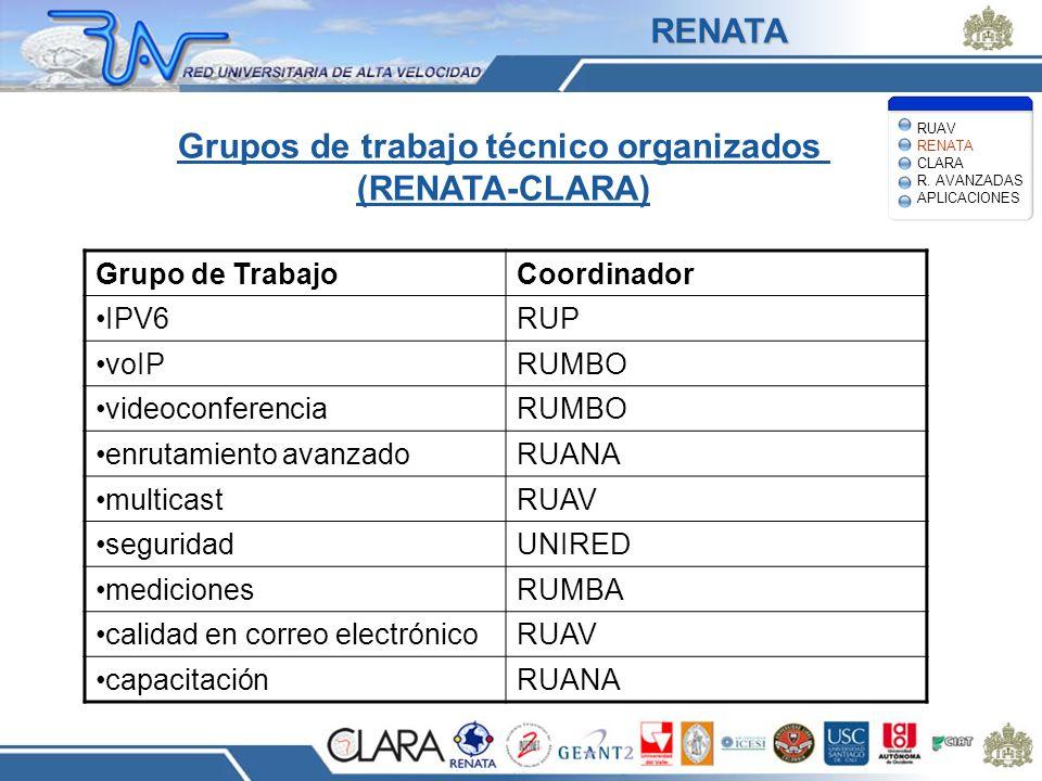 Grupos de trabajo técnico organizados (RENATA-CLARA)