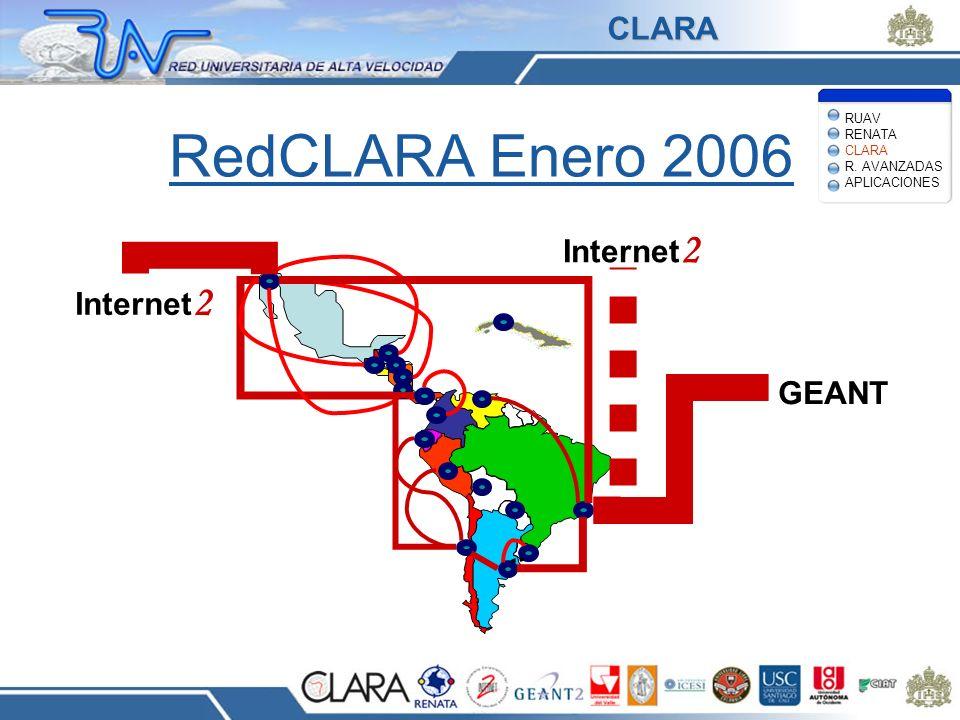 RedCLARA Enero 2006 CLARA Internet2 GEANT