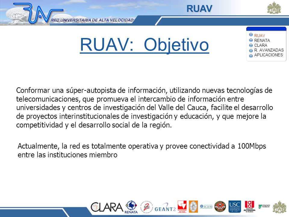 RUAV RUAV RENATA CLARA R. AVANZADAS APLICACIONES. RUAV: Objetivo.