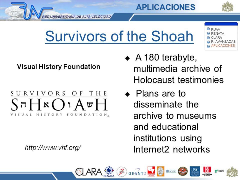 APLICACIONES Survivors of the Shoah. RUAV RENATA CLARA R. AVANZADAS APLICACIONES. A 180 terabyte, multimedia archive of Holocaust testimonies.