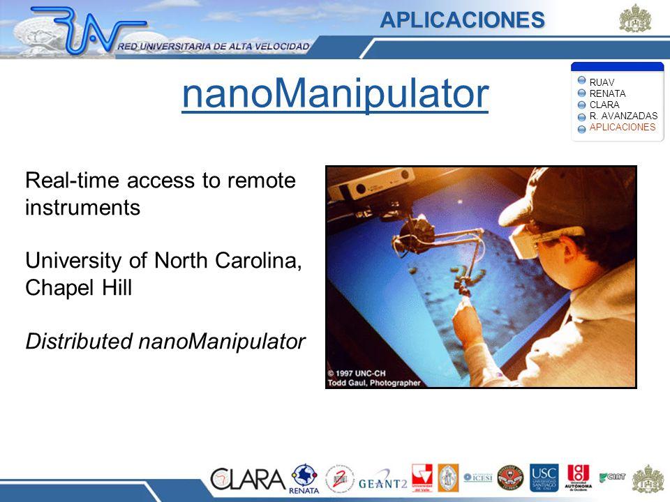 nanoManipulator APLICACIONES Real-time access to remote instruments
