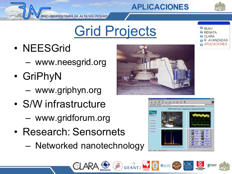 Grid Projects NEESGrid GriPhyN S/W infrastructure Research: Sensornets