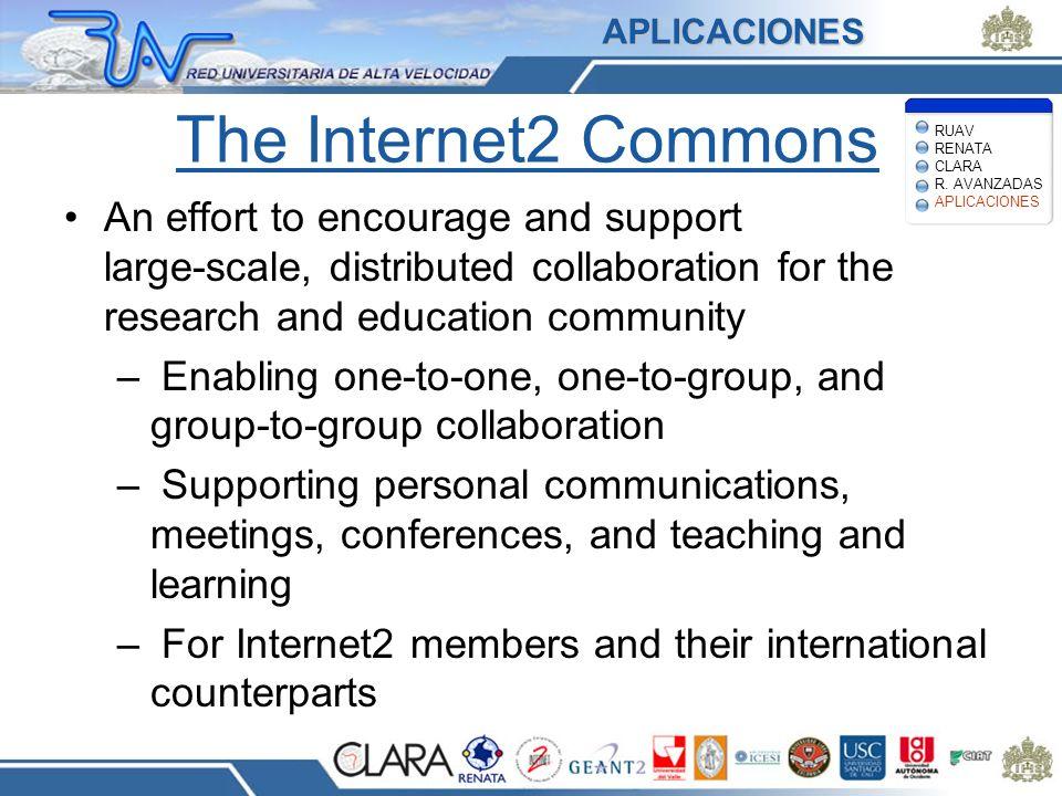 APLICACIONES The Internet2 Commons. RUAV RENATA CLARA R. AVANZADAS APLICACIONES.