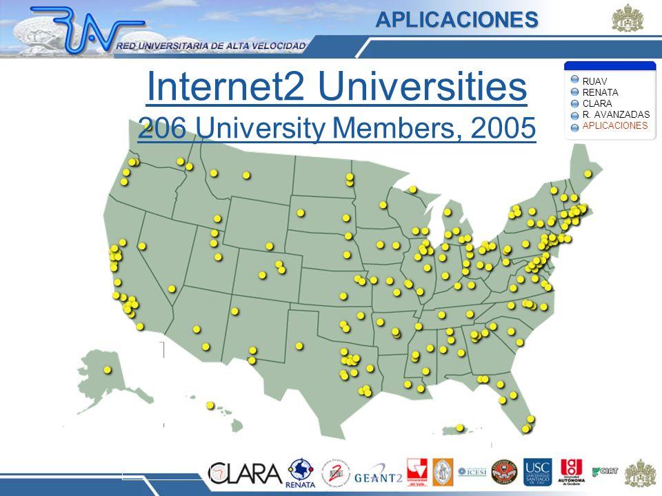 Internet2 Universities 206 University Members, 2005