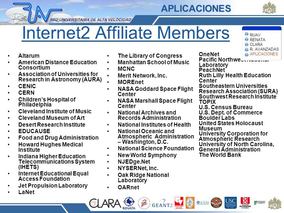 Internet2 Affiliate Members