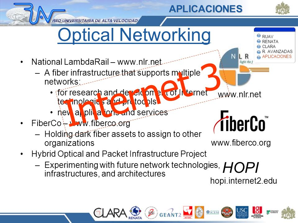 Internet 3 Optical Networking HOPI APLICACIONES