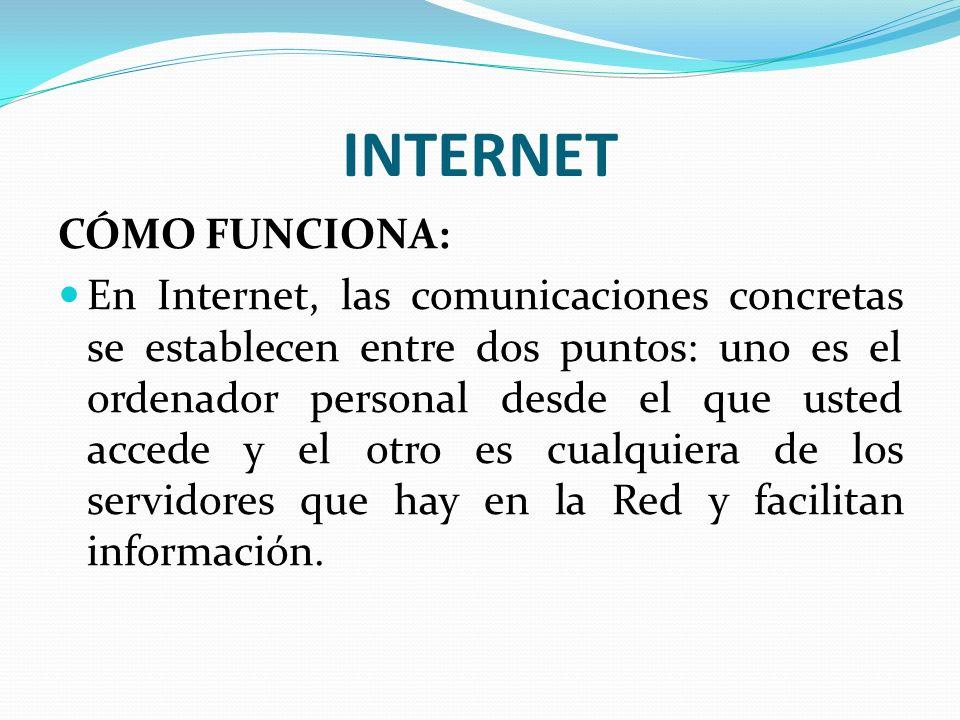 INTERNET CÓMO FUNCIONA: