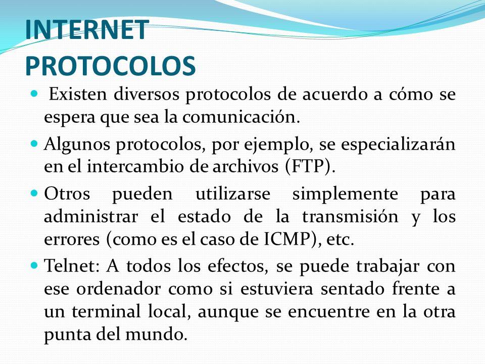 INTERNET PROTOCOLOS Existen diversos protocolos de acuerdo a cómo se espera que sea la comunicación.