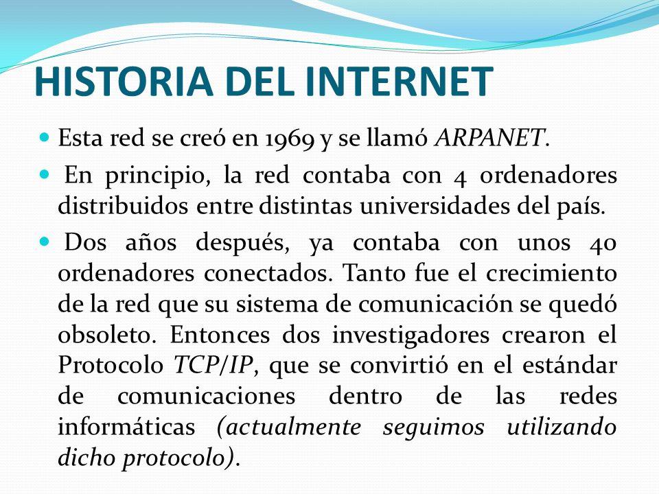 HISTORIA DEL INTERNET Esta red se creó en 1969 y se llamó ARPANET.