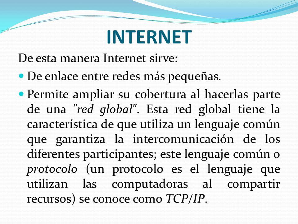 INTERNET De esta manera Internet sirve: