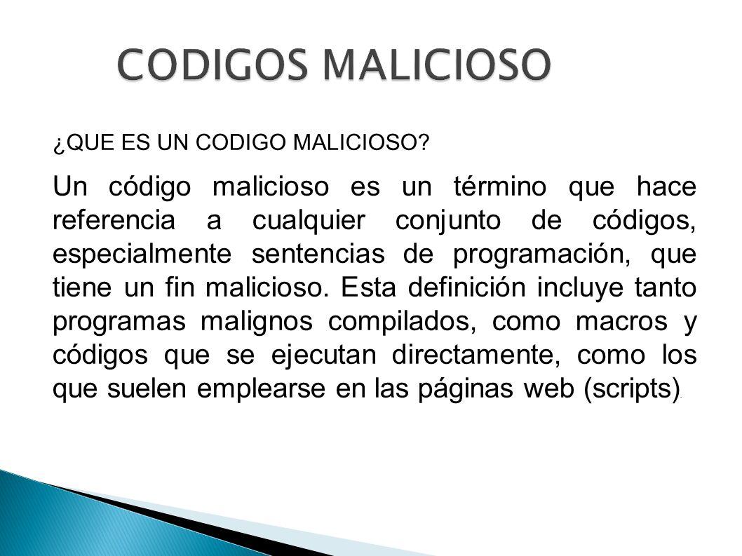 CODIGOS MALICIOSO ¿QUE ES UN CODIGO MALICIOSO