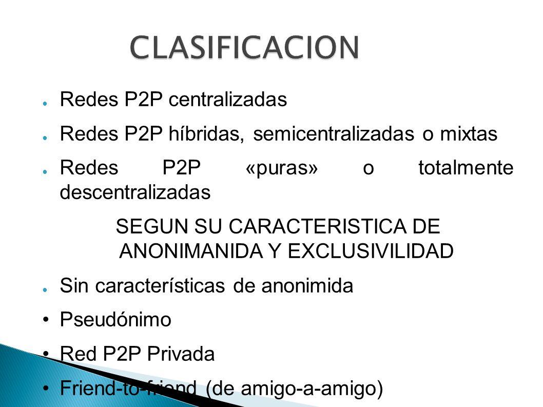 SEGUN SU CARACTERISTICA DE ANONIMANIDA Y EXCLUSIVILIDAD