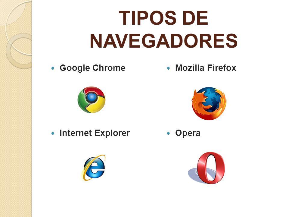 TIPOS DE NAVEGADORES Google Chrome Mozilla Firefox Internet Explorer
