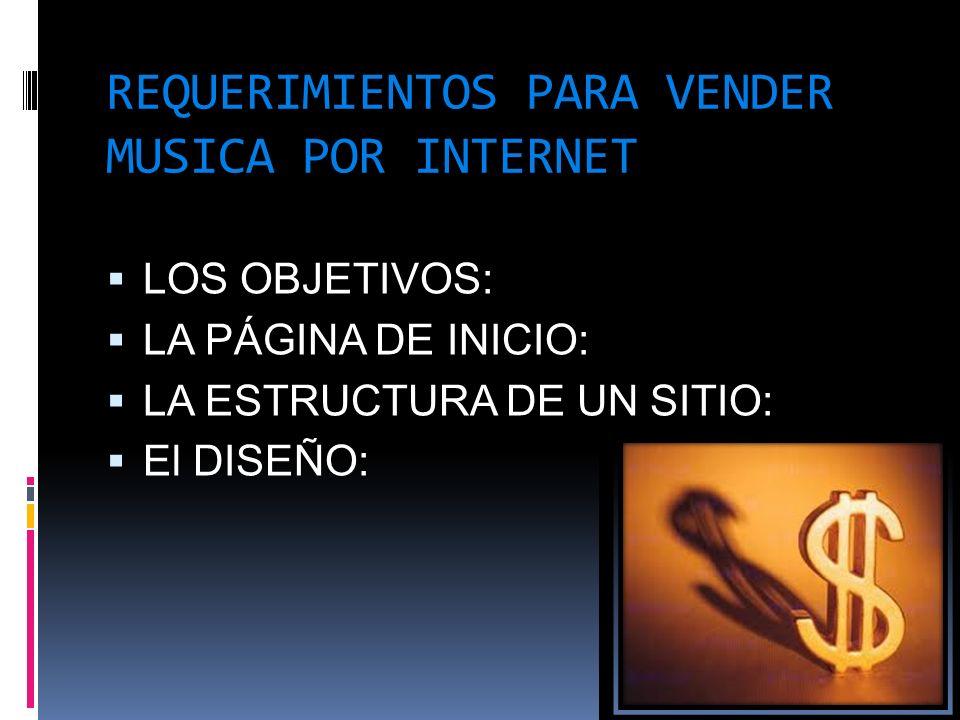 REQUERIMIENTOS PARA VENDER MUSICA POR INTERNET