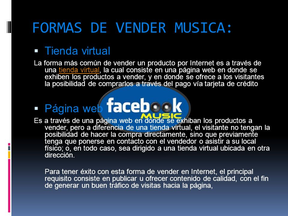FORMAS DE VENDER MUSICA: