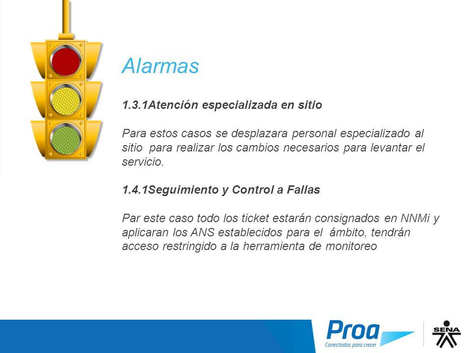 Alarmas por Nivel 3-4 Alarmas 1.3.1Atención especializada en sitio