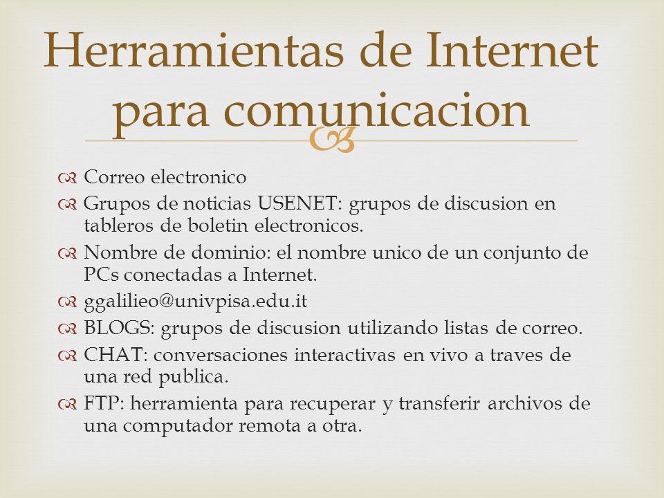 Herramientas de Internet para comunicacion