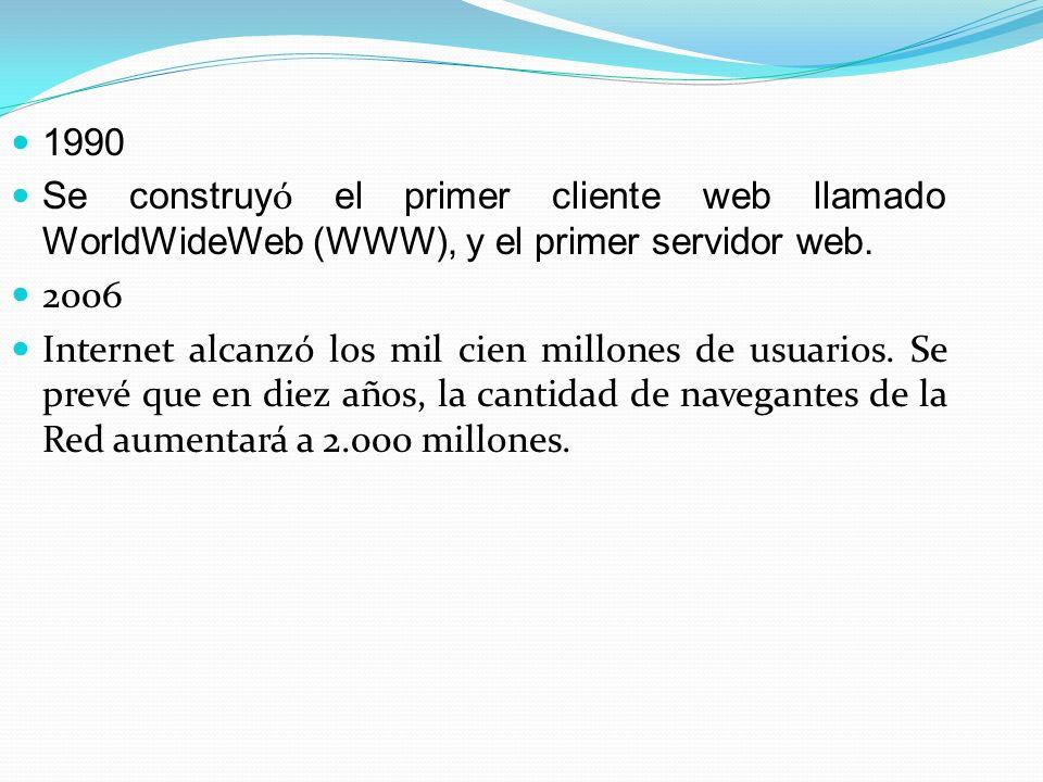1990 Se construyó el primer cliente web llamado WorldWideWeb (WWW), y el primer servidor web. 2006.