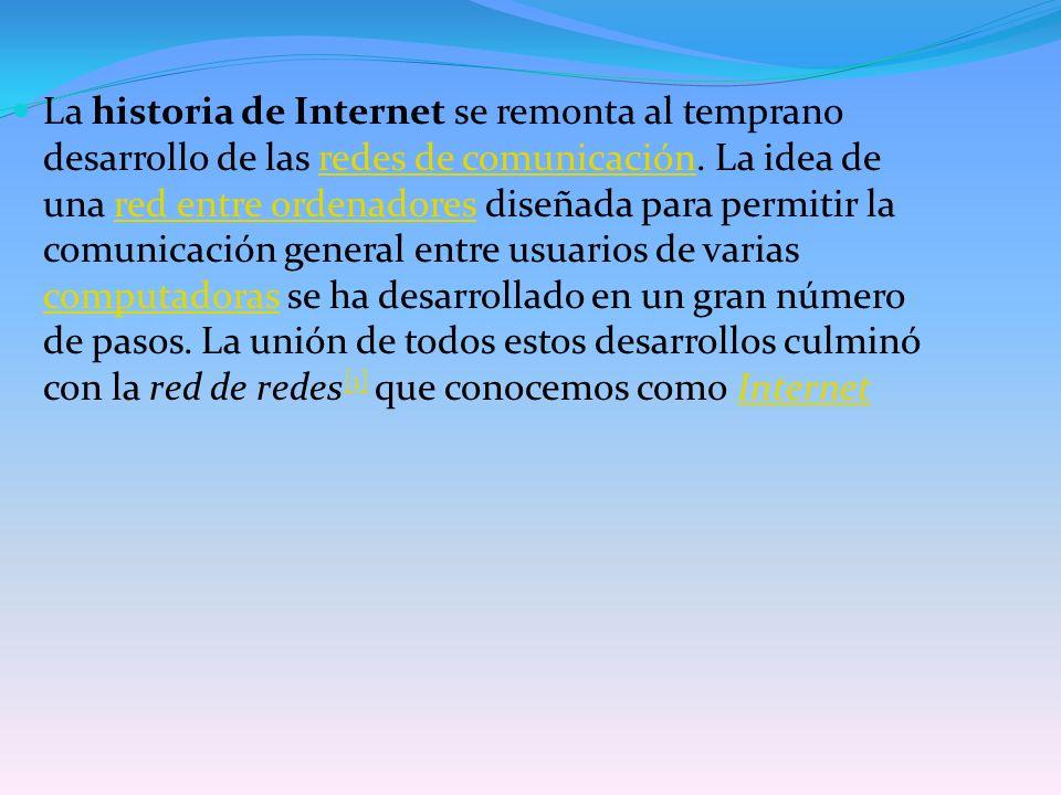 La historia de Internet se remonta al temprano desarrollo de las redes de comunicación.